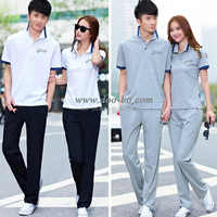 fashion summer wear 2015 fancy cotton couple wear custom clothes tshirt and pants manufacturer