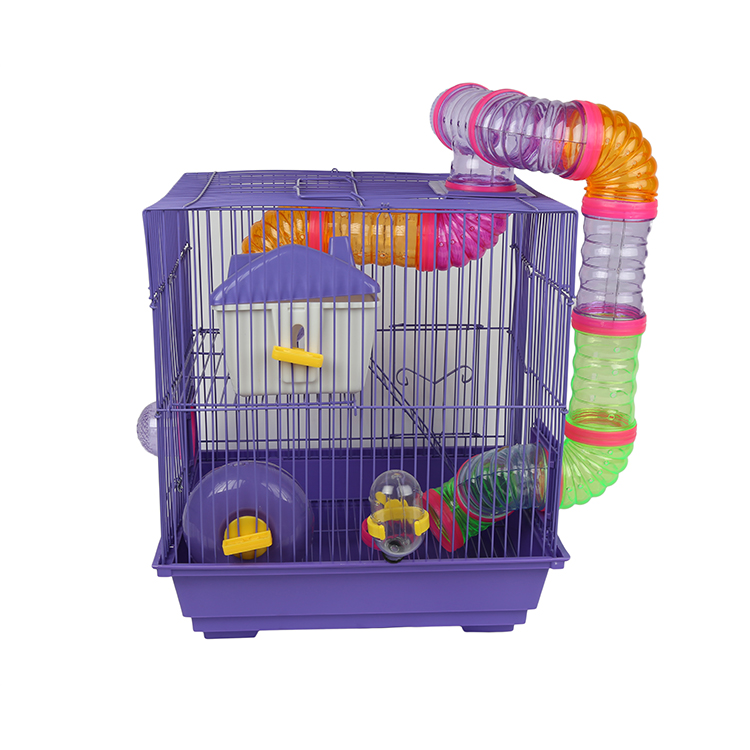 Pet Small Animal Cage For Hamster, Two Tier Luxury Tunnel Hamster Cage