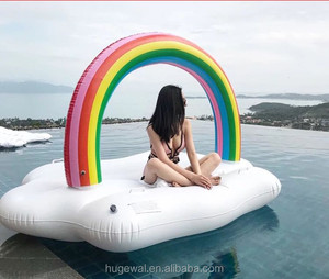 Water floating Entertainment Inflatable pool float Rainbow Cloud Daybed inflatable lake toys