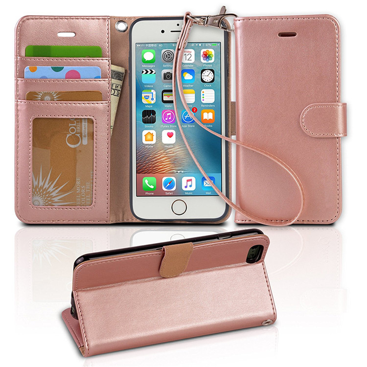 China Factory Customized OEM Luxury Cell Phone Real Leather Wallet Phone Case for iPhone 7