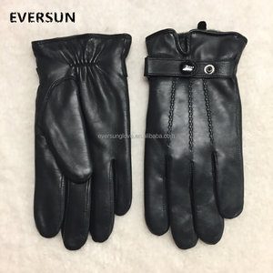 Men Boys Accessory Cheap Winter Warm Black Genuine Leather Gloves