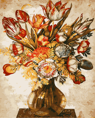 GX9989- 40*50 glass painting pictures of flowers with inner frame ready to hang decoration home and office