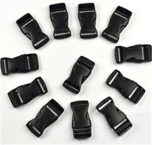 12 pcs black plastic 1 inch (25mm) flat side release buckles