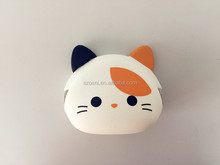 2016 New design promotional 3D cute Cat Shape Silicone Coin purse /animal wallet with rubber squeeze