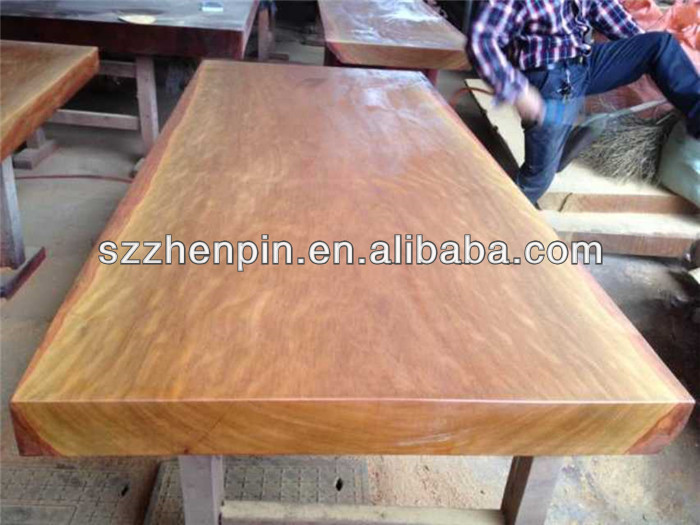 microgroove natural color big log solid slab wood table top/ room furniture set