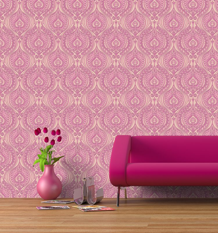 European PVC vinyl embossed full size wallpapers flowers