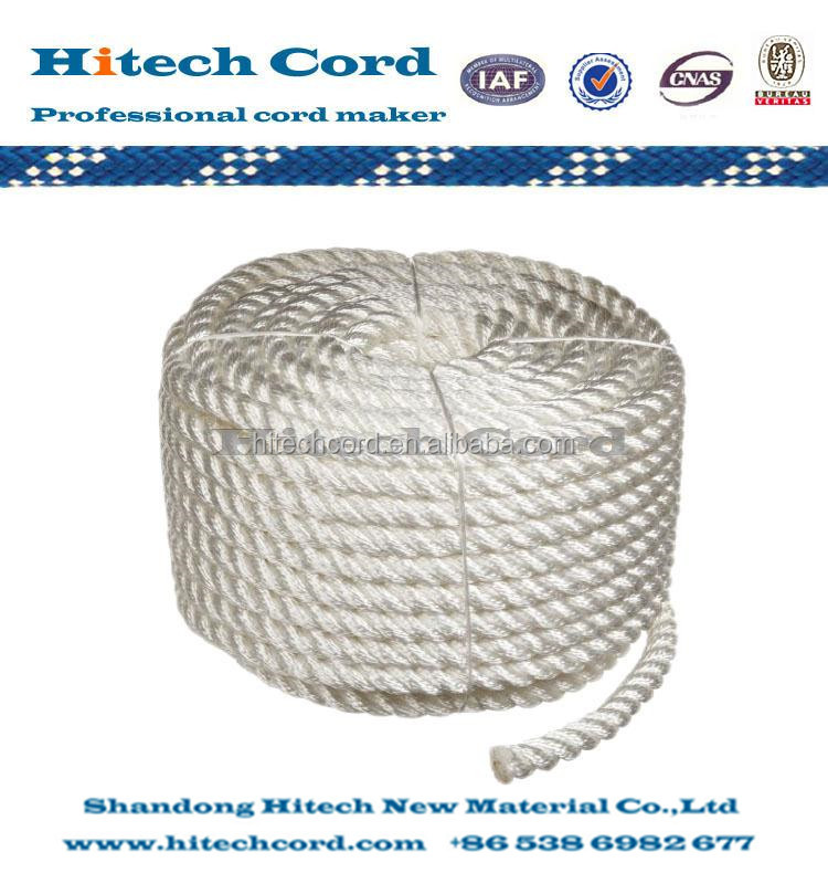 white color 5mm 3 strand or 4 strand Twisted Nylon Rope From Manufacture