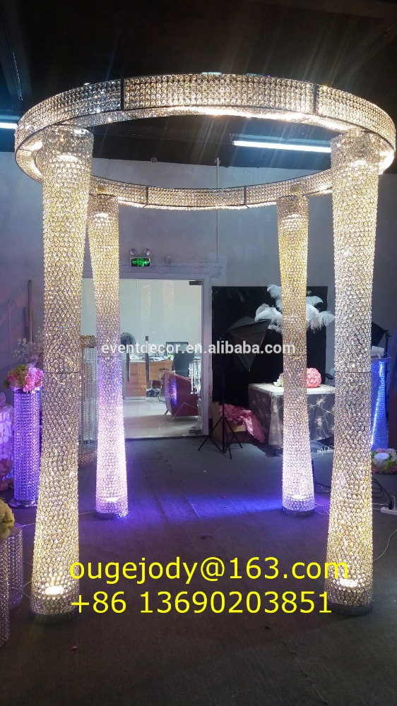 Wholesale lighting crystal wedding arch with plug for wedding decoration