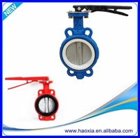 Manual Stainless Steel PTFE Industrial Wafer Cast Iron Butterly Valve DN80