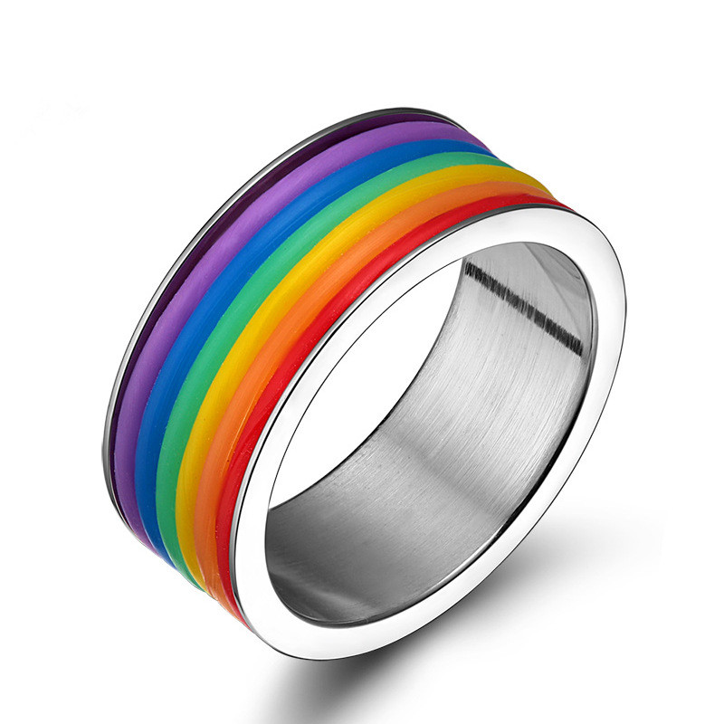 Wholesale Fashion stainless steel gay men ring,rainbow ring for men