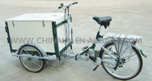 2015 factory directly steel frame 24 inch 3 wheels cargo bike in tricycle for ice cream, pizza, coffe, commercial use