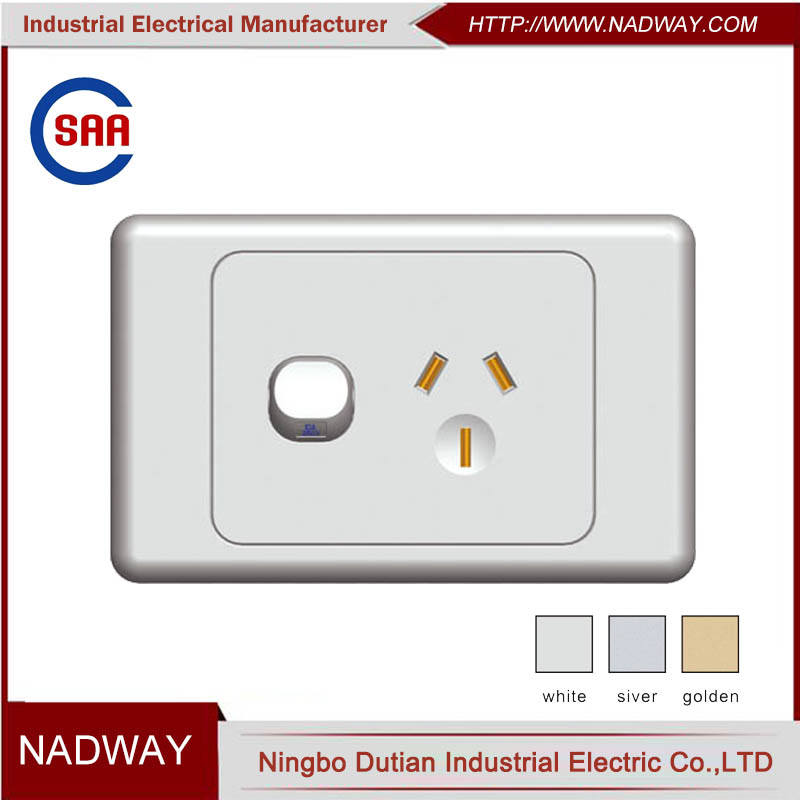 single point 1gang 1way electrical wall 15 amp switched socket