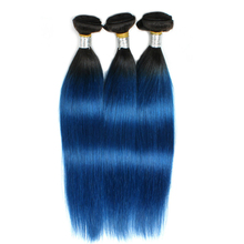 Grade 8A silky straight ombre color 1b/blue dyeable Indian virgin hair extension cheap price and drop shipping