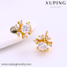 C208125--25645 Xuping Fashion 24K gold Plated Jewelry Earrings Elegant Popular Studs earrings with Glass