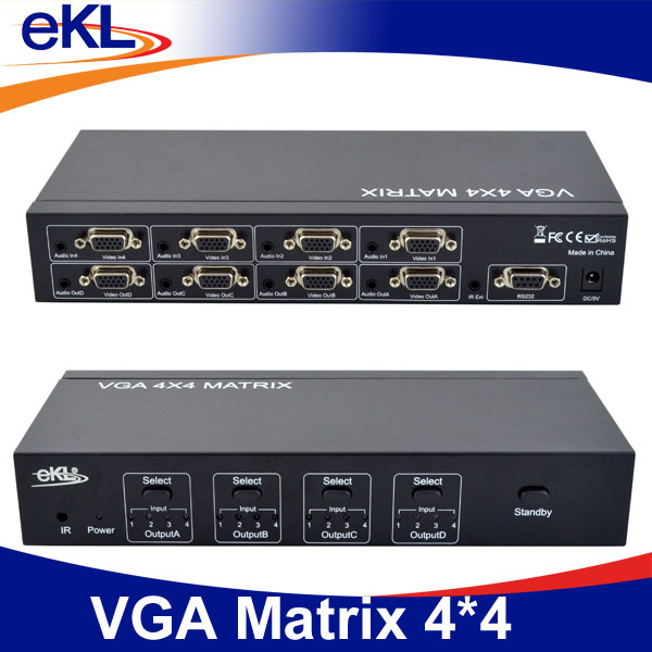 4x4 VGA matrix switcher with stereo audio