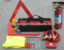 roadside car emergency kit with 1kg fire extinguisher warnning triangle booster cable,metal shovel