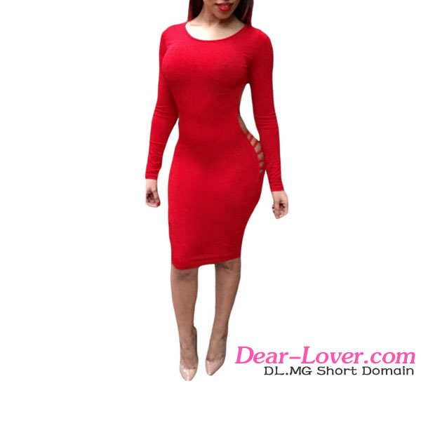 open hot sexy girl photo Red Open Back Cut Out Club Bodycon Dress dress spring summer 2016 woman