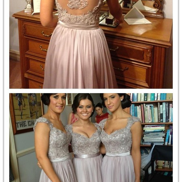 Hot Sale Cheap Beaded Chiffon Bridesmaid dresses long Sheer Back Brides Maid Dresses Elegant Lace Maid of Honour Dresses