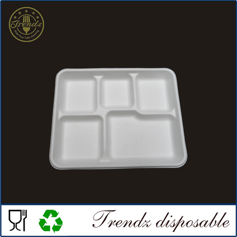 Biodegradable fast food tray 5 compartment disposable food tray school lunch paper tray
