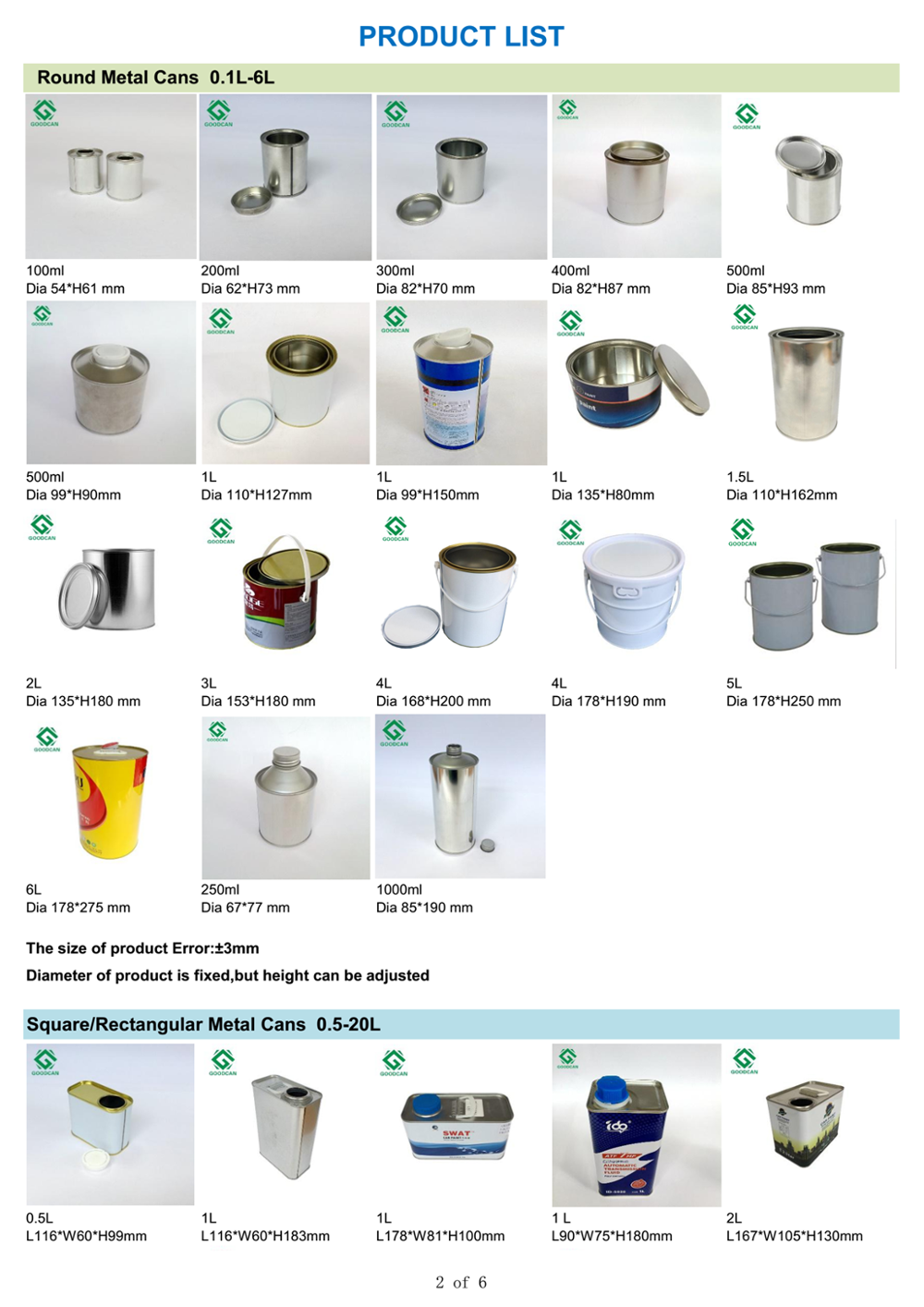 1L empty brake oil tin cans brake oil tin