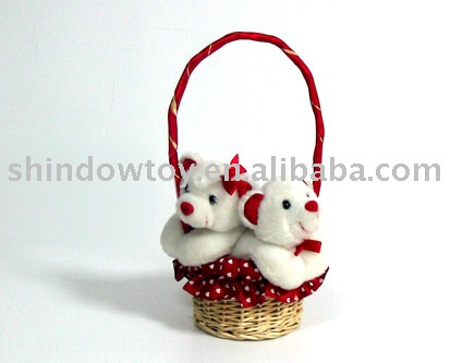 custom wholesale stuffed bears in basket