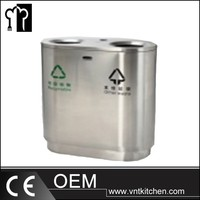 Outdoor galvanized steel garbage bin for rubbish collection