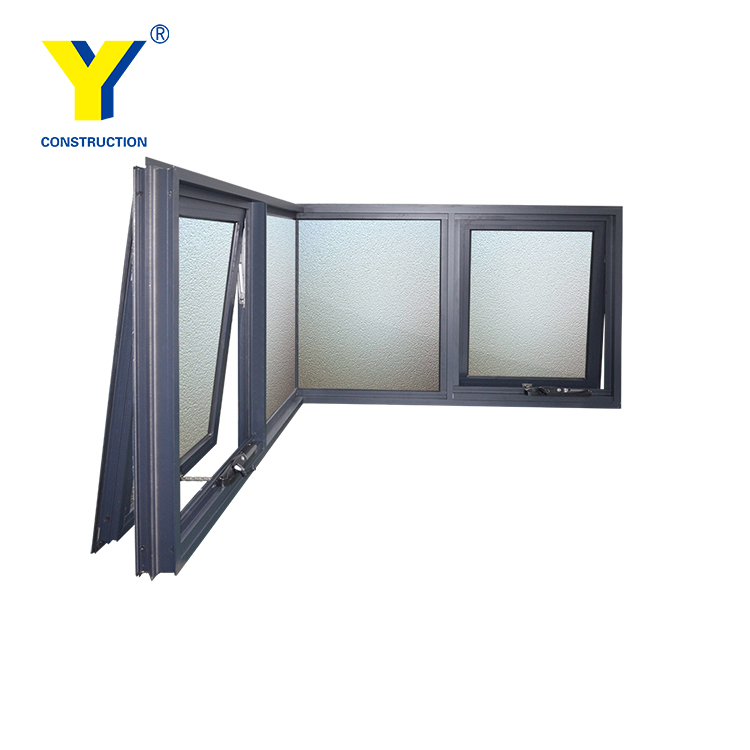 Silicon butt joint corner fixed Awning style with laminated glass Aluminium Windows
