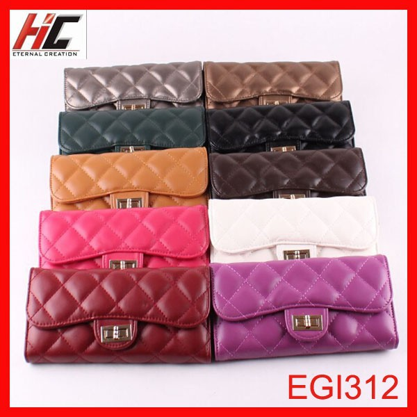 Latest stylish ladies beautiful magazine wallets sheepskin clasp plaid long wallet