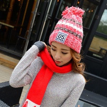 Winter ladies fashion knitted hat plus plush warm damp mixed color wool cap