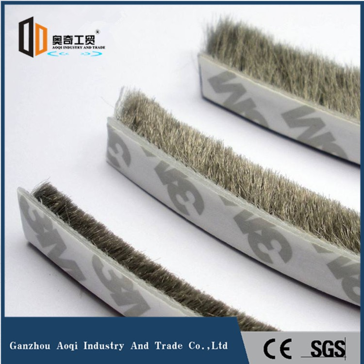 Silicone Wool pile weatherstripping with self-adhesive for doors and windows