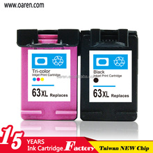 3 Pack Remanufactured Black Color Ink Cartridges for HP 63XL New High Capacity