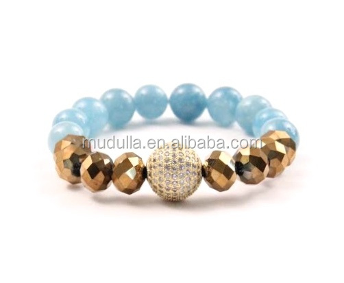 B15092402 Pave CZ Ball Charm Bracelet Baby Blue Jade and Gold Crystal Beaded Bracelet