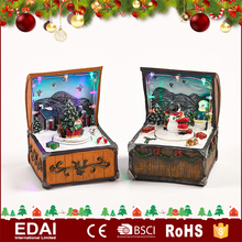 LED lighted polyresin decorative rectangular wholesale christmas music box with winter scene