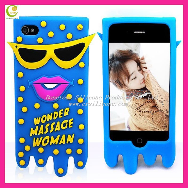 New unique glasses beard lips octopus silicone protective case for iphone 5 iphone 4g