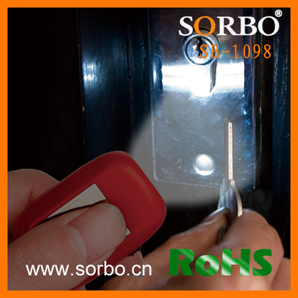 SORBO Manufacture Portable Mini Solar Dynamo Torch,Rechargeable LED Keychain Flashlight with ABS,Hand Crank Solar LED Torch Ligh