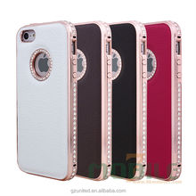 Customized android double bumper rhinestone inserted metallic leather phone shell telephone cover For iphone 5G 5S