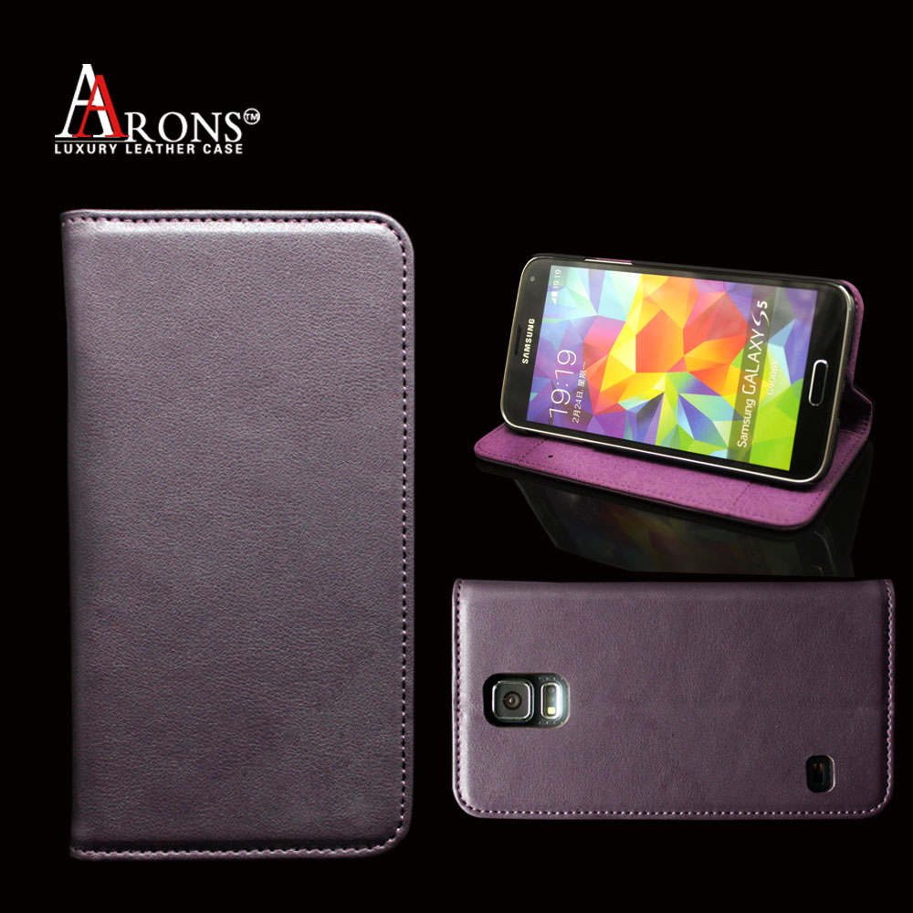 Luxury cow leather purple case wallet for samsung galaxy s5 wholesale cell phone wallet