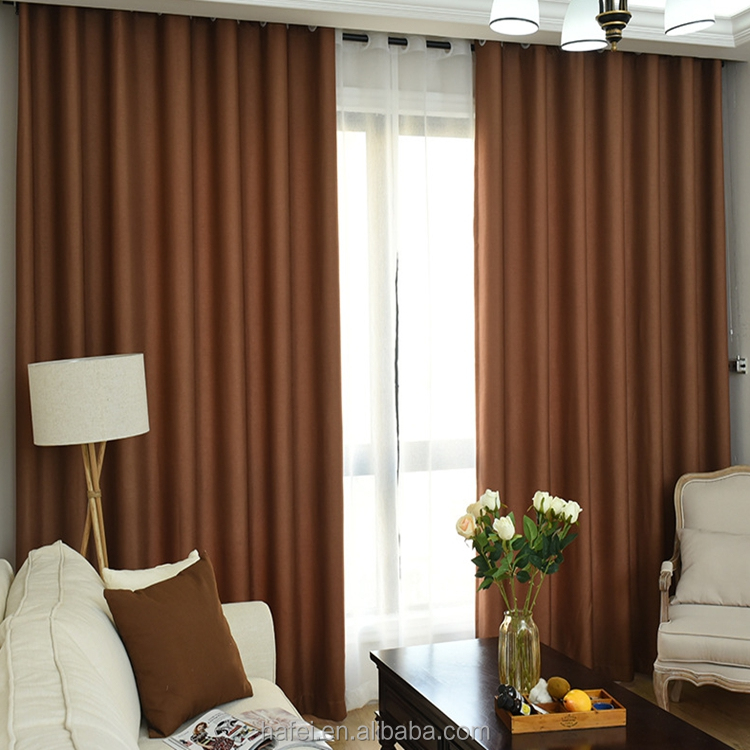 thermal curtains non-toxic embroidered solid blackout curtains