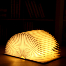 New product ideas 2019 book recharge wooden cover led book table lamp