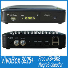 2013 newest products vivo box s925+ free iks sks dual tuner nagra 3 decoder free to air for south america