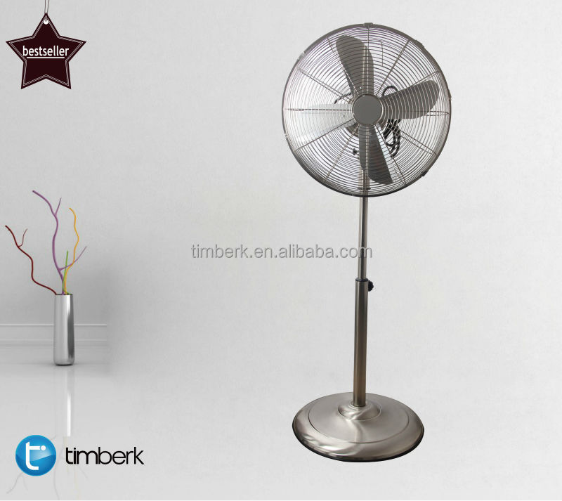Metal silvery retro electric stand fan
