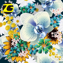 China wholesale various flower design paper print 75D polyester twill fabric