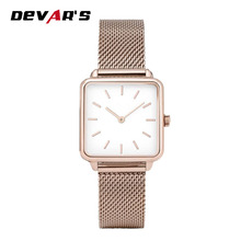 Ultra-thin 7mm luxury stainless steel gold mesh bracelet watch for women