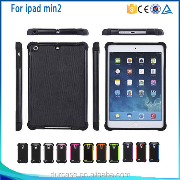PC+TPU Combo Hybrid Case Cover For ipad mini2/3/4,Rubber Shockproof Case For ipad mini 2/3/4