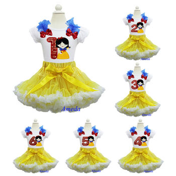 Yellow White Pettiskirt Bling Red 1 2 3 4 5 6 Embroidered Snow White Princess Birthday Party dress