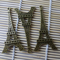 36*71mm Antique Bronze Plated Flat Tower Shape Metal Pendant Charms Wholesale
