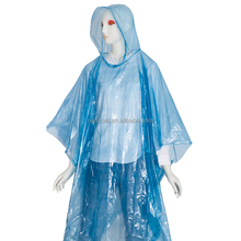 biodegradable disposable emergency PE rain poncho/raincoat