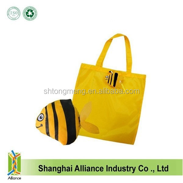 Colorful 190T Polyester Fish Folding Shopping Bag Handle