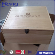 Large Size Hinged Wooden Box Cheap Paulownia Food Cake Gift Packaging Storage Box with Custom Burned Logo