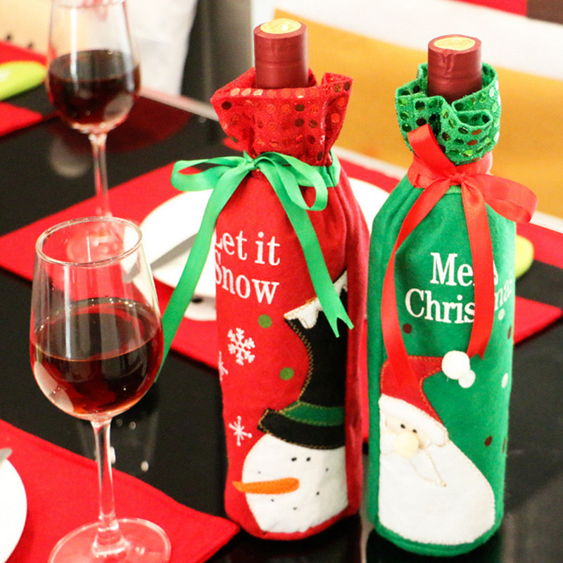 Promo decorate christmas wine bottle bag cover